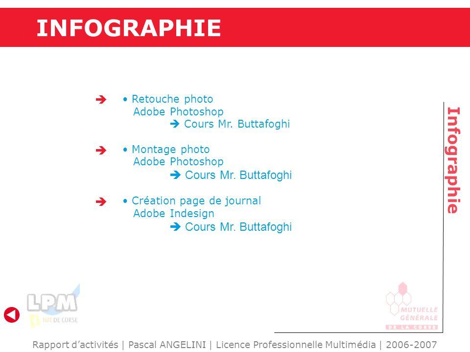 INFOGRAPHIE Infographie Rapport d'activités   Pascal ANGELINI   Licence Professionnelle Multimédia   2006-2007 Retouche photo Adobe Photoshop  Cours Mr.