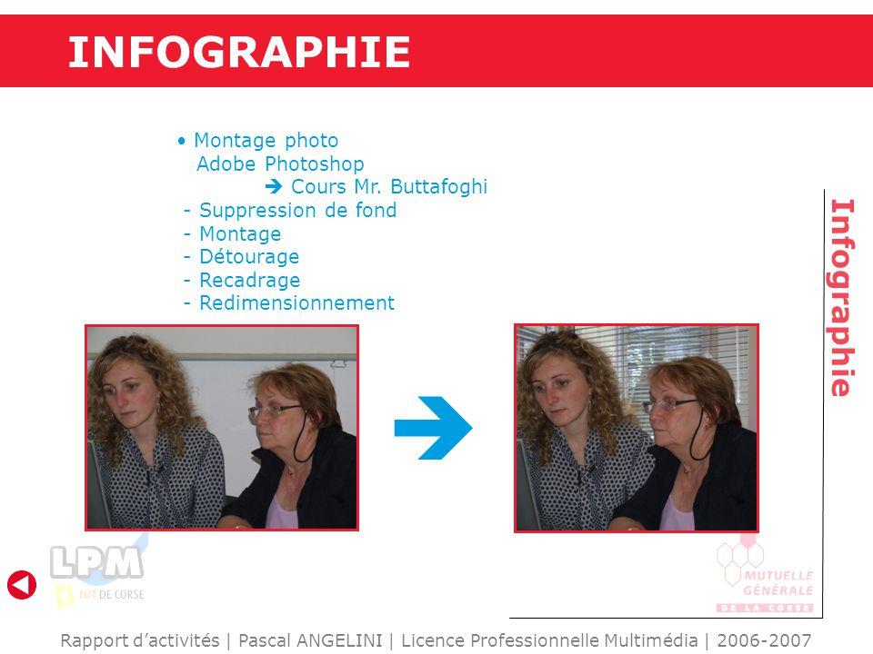 INFOGRAPHIE Infographie Rapport d'activités | Pascal ANGELINI | Licence Professionnelle Multimédia | 2006-2007 Montage photo Adobe Photoshop  Cours Mr.