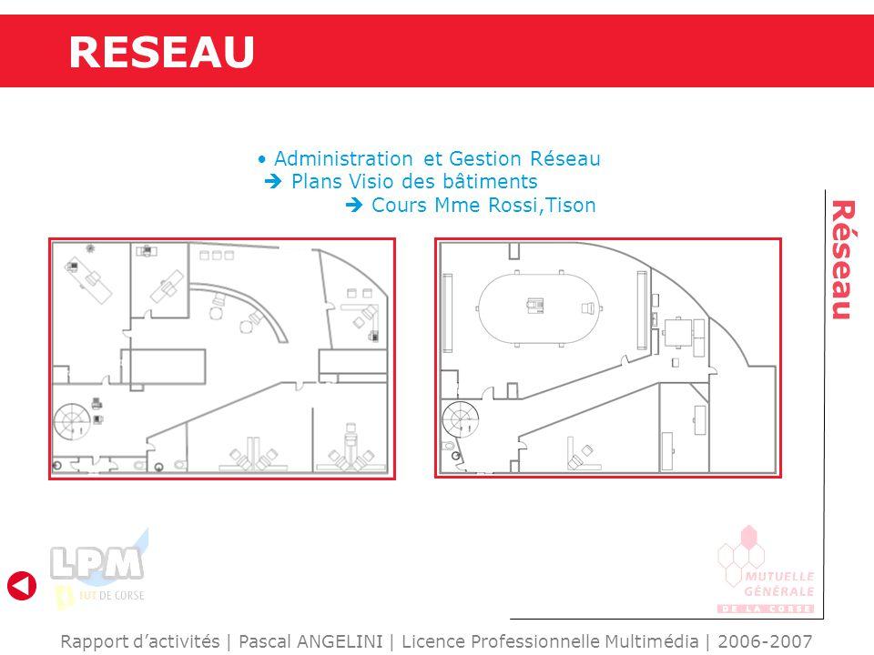 RESEAU Réseau Rapport d'activités | Pascal ANGELINI | Licence Professionnelle Multimédia | 2006-2007 Administration et Gestion Réseau  Plans Visio des bâtiments  Cours Mme Rossi,Tison