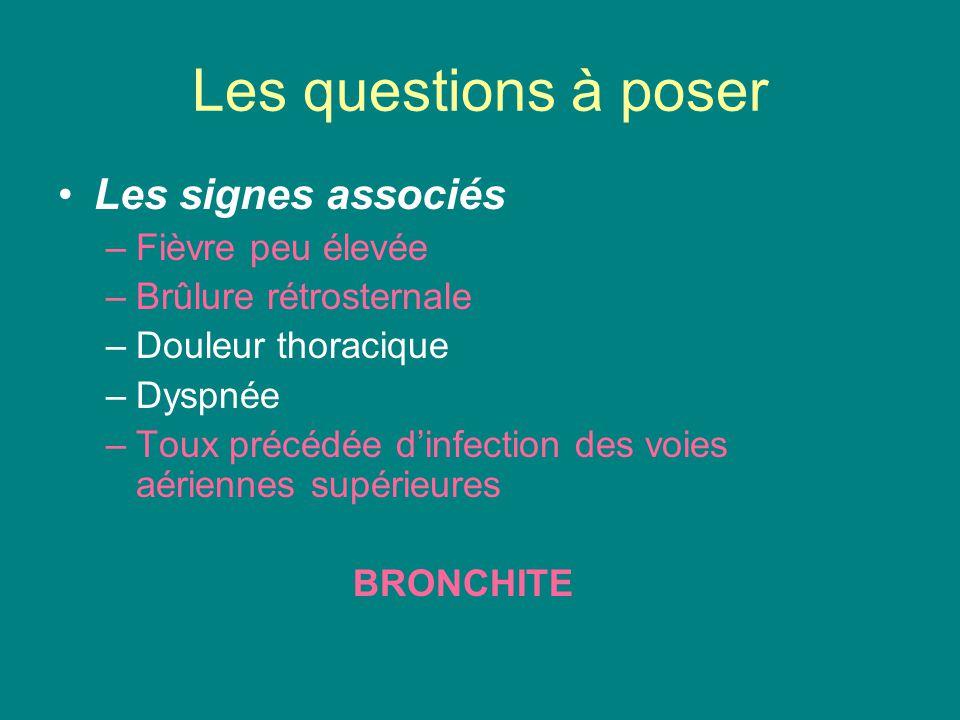 Les questions à poser Les signes associés –Fièvre peu élevée –Brûlure rétrosternale –Douleur thoracique –Dyspnée –Toux précédée d'infection des voies