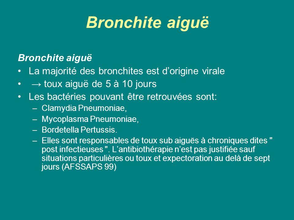 Bronchite aiguë La majorité des bronchites est d'origine virale → toux aiguë de 5 à 10 jours Les bactéries pouvant être retrouvées sont: –Clamydia Pne
