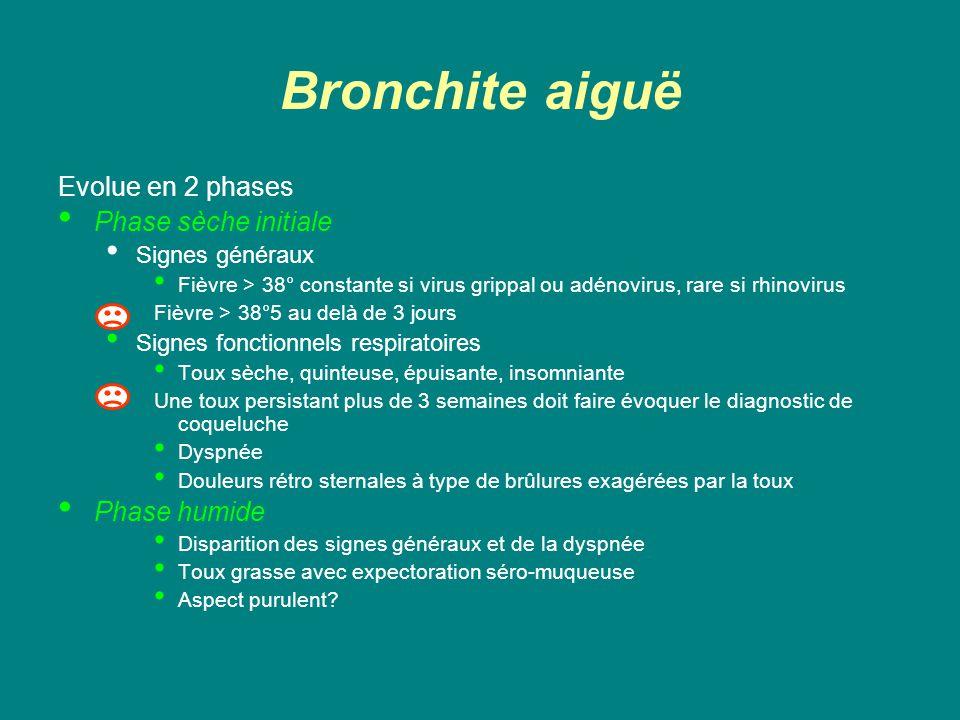 Bronchite aiguë Evolue en 2 phases Phase sèche initiale Signes généraux Fièvre > 38° constante si virus grippal ou adénovirus, rare si rhinovirus Fièv