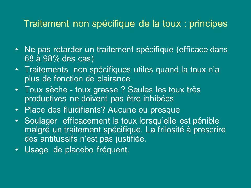 Traitement non spécifique de la toux : principes Ne pas retarder un traitement spécifique (efficace dans 68 à 98% des cas) Traitements non spécifiques