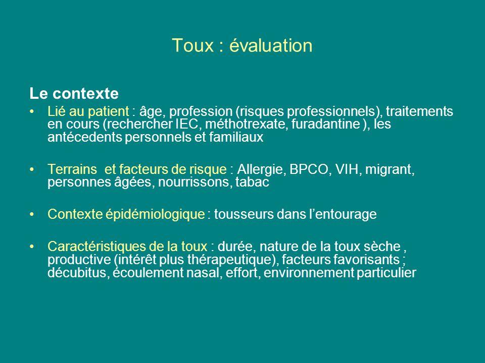 Toux : évaluation Le contexte Lié au patient : âge, profession (risques professionnels), traitements en cours (rechercher IEC, méthotrexate, furadanti