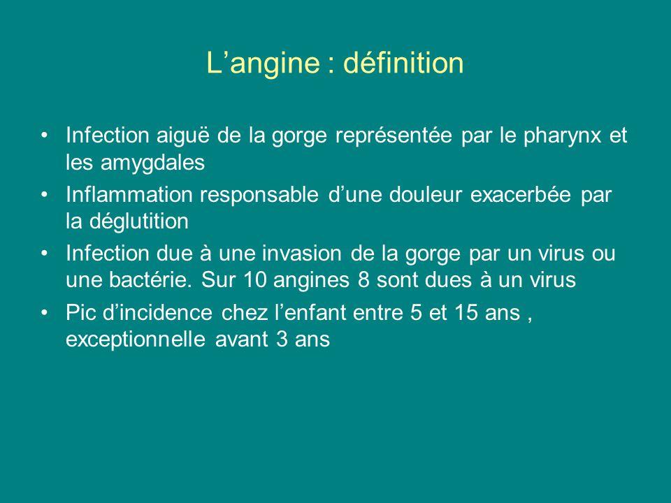 L'angine : définition Infection aiguë de la gorge représentée par le pharynx et les amygdales Inflammation responsable d'une douleur exacerbée par la