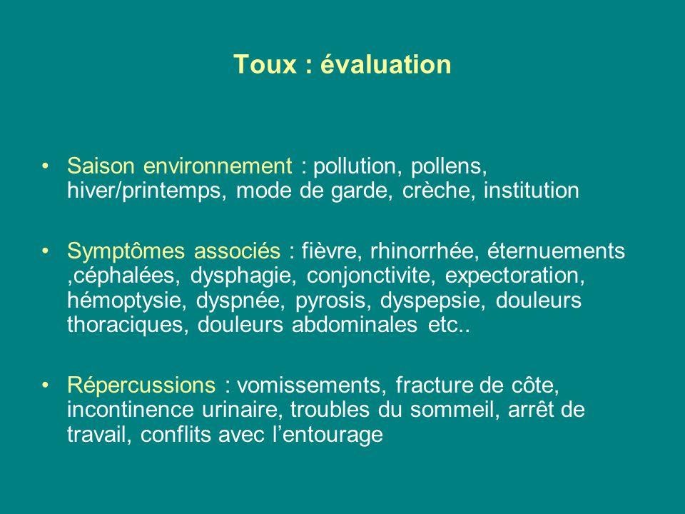 Toux : évaluation Saison environnement : pollution, pollens, hiver/printemps, mode de garde, crèche, institution Symptômes associés : fièvre, rhinorrh