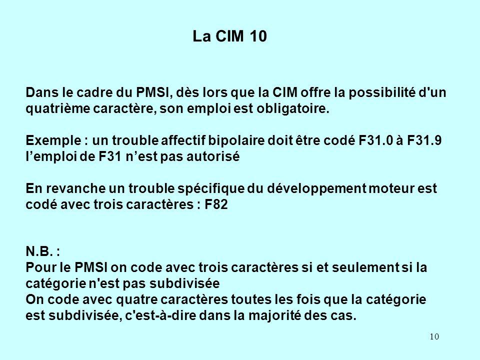 10 La CIM 10 Dans le cadre du PMSI, dès lors que la CIM offre la possibilité d'un quatrième caractère, son emploi est obligatoire. Exemple : un troubl