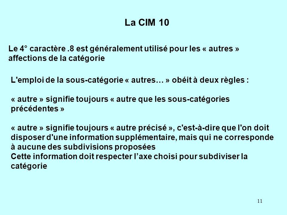 11 Le 4° caractère.8 est généralement utilisé pour les « autres » affections de la catégorie La CIM 10 L'emploi de la sous-catégorie « autres… » obéit