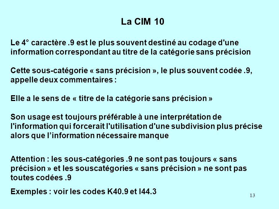 13 Le 4° caractère.9 est le plus souvent destiné au codage d'une information correspondant au titre de la catégorie sans précision Cette sous-catégori