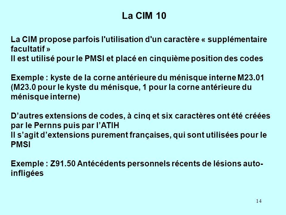 14 La CIM propose parfois l'utilisation d'un caractère « supplémentaire facultatif » Il est utilisé pour le PMSI et placé en cinquième position des co