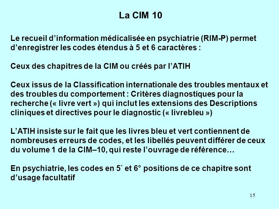 15 Le recueil d'information médicalisée en psychiatrie (RIM-P) permet d'enregistrer les codes étendus à 5 et 6 caractères : Ceux des chapitres de la C