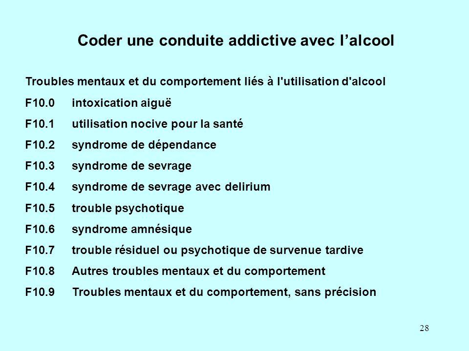 28 Coder une conduite addictive avec l'alcool Troubles mentaux et du comportement liés à l'utilisation d'alcool F10.0intoxication aiguë F10.1utilisati