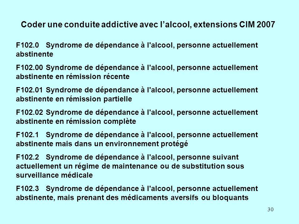 30 Coder une conduite addictive avec l'alcool, extensions CIM 2007 F102.0Syndrome de dépendance à l'alcool, personne actuellement abstinente F102.00Sy