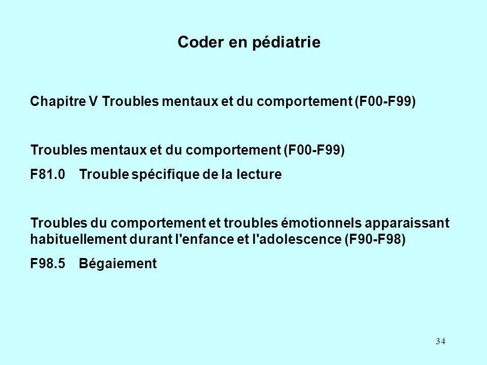 34 Coder en pédiatrie Chapitre V Troubles mentaux et du comportement (F00-F99) Troubles mentaux et du comportement (F00-F99) F81.0Trouble spécifique d