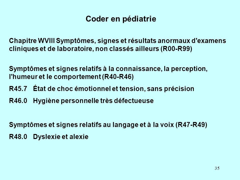 35 Chapitre WVIII Symptômes, signes et résultats anormaux d'examens cliniques et de laboratoire, non classés ailleurs (R00-R99) Symptômes et signes re