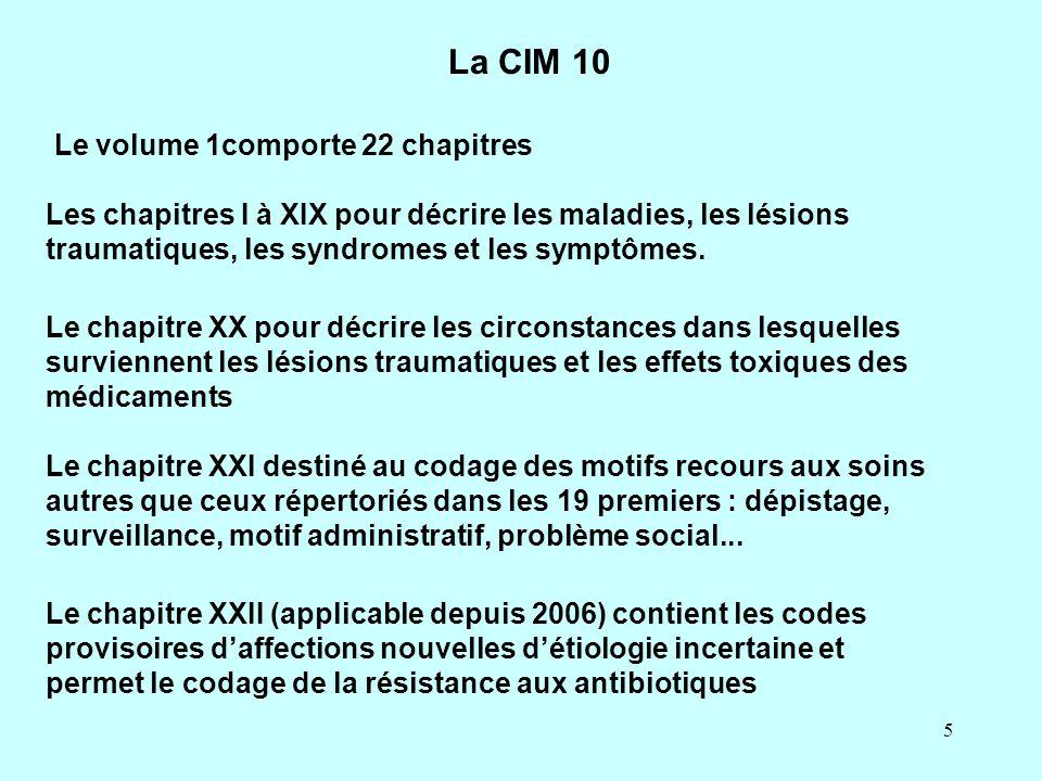 5 La CIM 10 Le volume 1comporte 22 chapitres Le chapitre XX pour décrire les circonstances dans lesquelles surviennent les lésions traumatiques et les