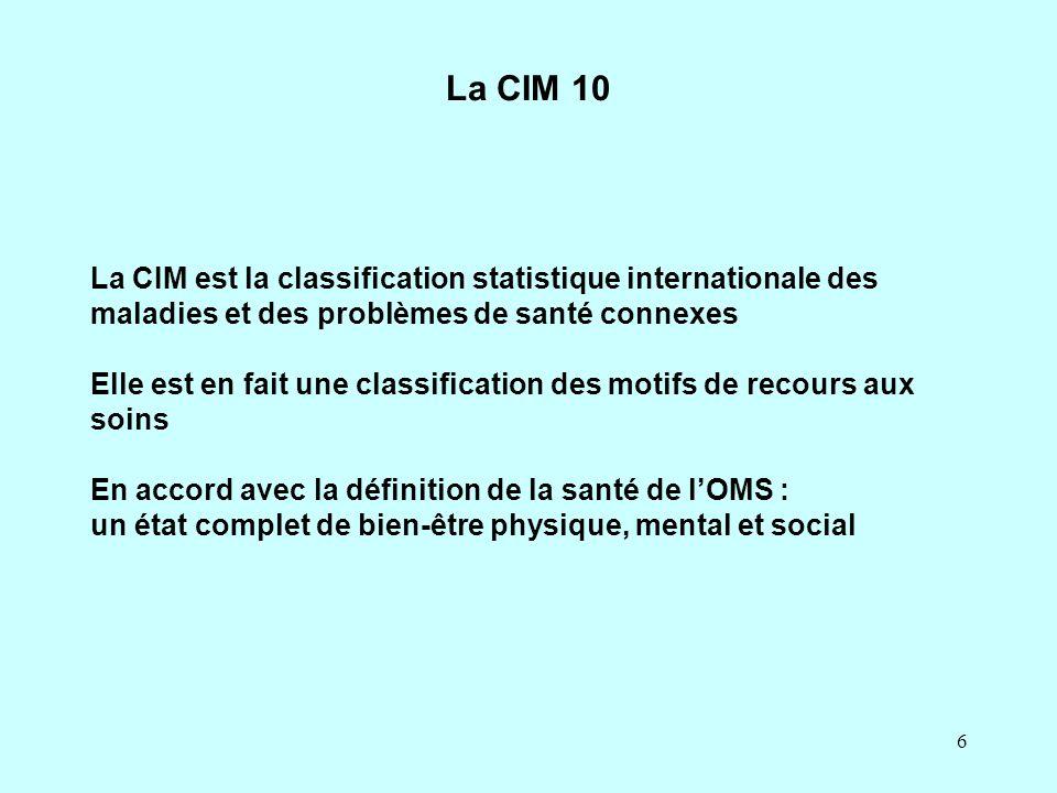 7 La CIM 10 Les chapitres sont divisés en catégories Les catégories ont un code à trois caractères, alphanumérique Exemple : F63 Troubles des habitudes et des impulsions En fin du volume - une classification anatomopathologique des tumeurs - des définitions et des propositions pour la présentation des données.