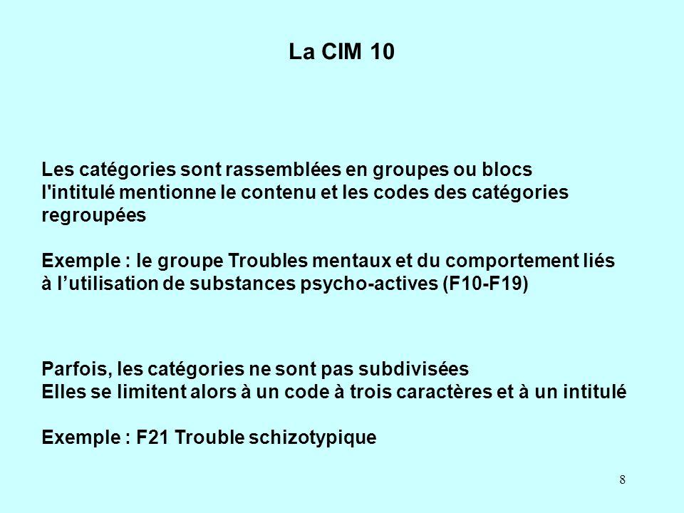 8 La CIM 10 Les catégories sont rassemblées en groupes ou blocs l'intitulé mentionne le contenu et les codes des catégories regroupées Exemple : le gr