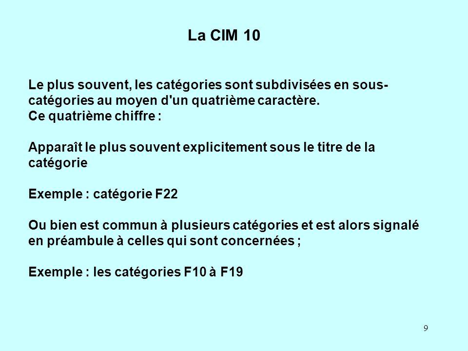 9 La CIM 10 Le plus souvent, les catégories sont subdivisées en sous- catégories au moyen d'un quatrième caractère. Ce quatrième chiffre : Apparaît le
