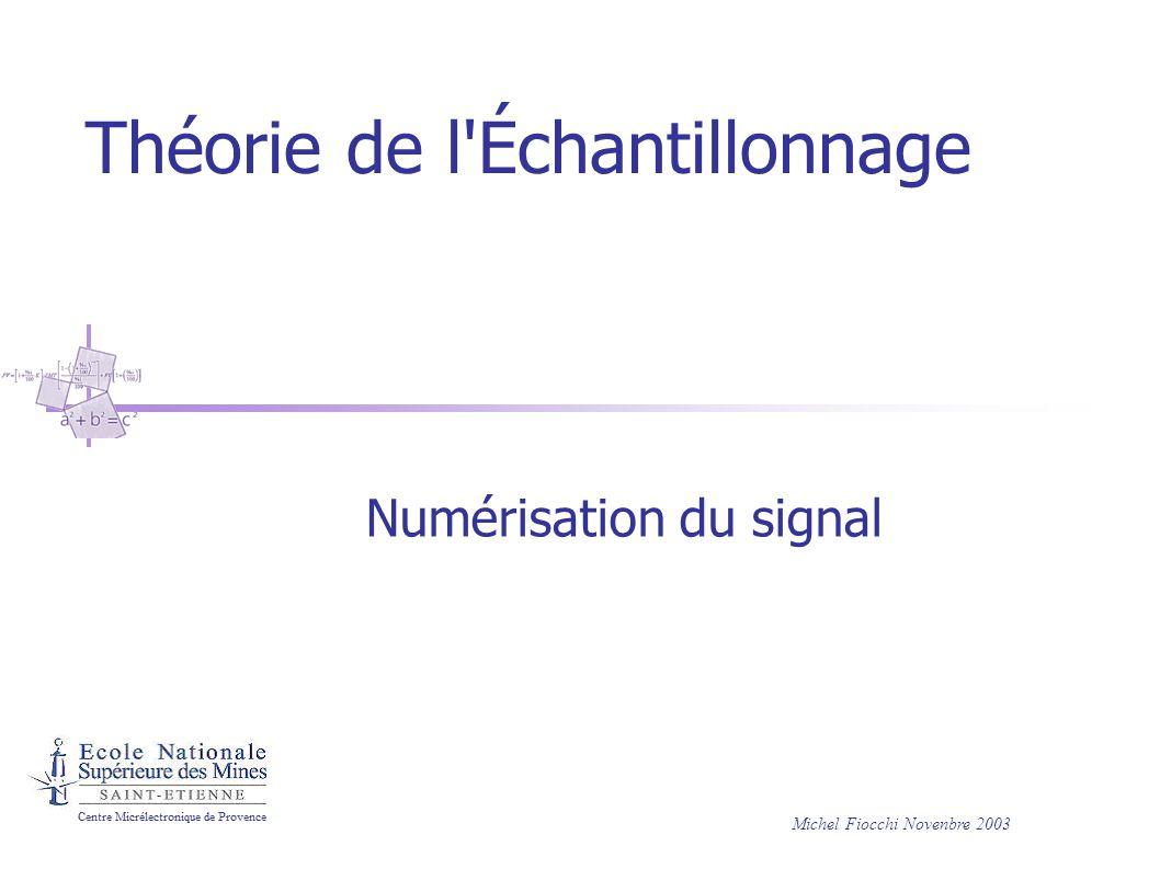 Théorie de l Échantillonnage Numérisation du signal Michel Fiocchi Novenbre 2003