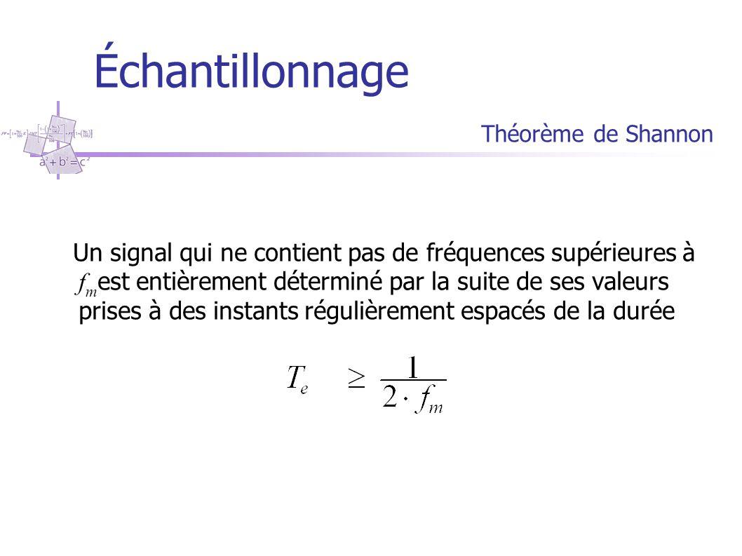 Échantillonnage Théorème de Shannon soit f m la fréquence telle que f e =2 f m est la fréquence critique d'échantillonnage (fréquence de Shannon ou de