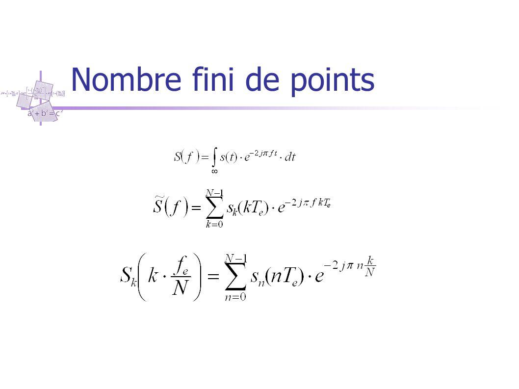 Nombre fini de points Soit N le nombre de points régulièrement espacés sur la période d'observation T. Le signal est défini par une suite de N valeurs