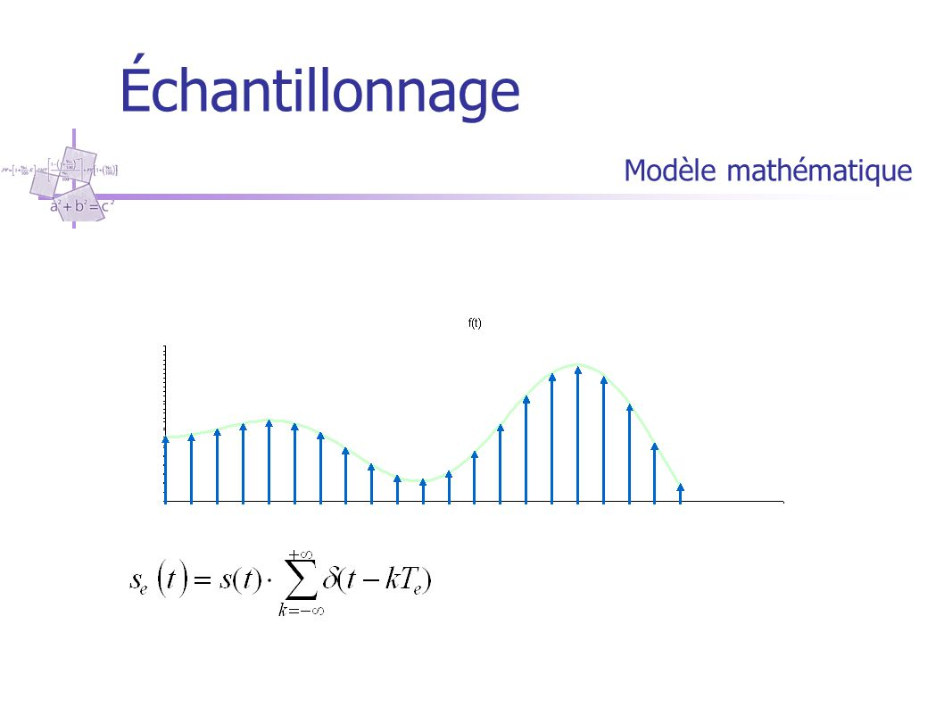 Échantillonnage Dans l'espace des temps le signal est remplacé par ces valeurs à des instants multiples entiers de la période d'échantillonnage T. s(t