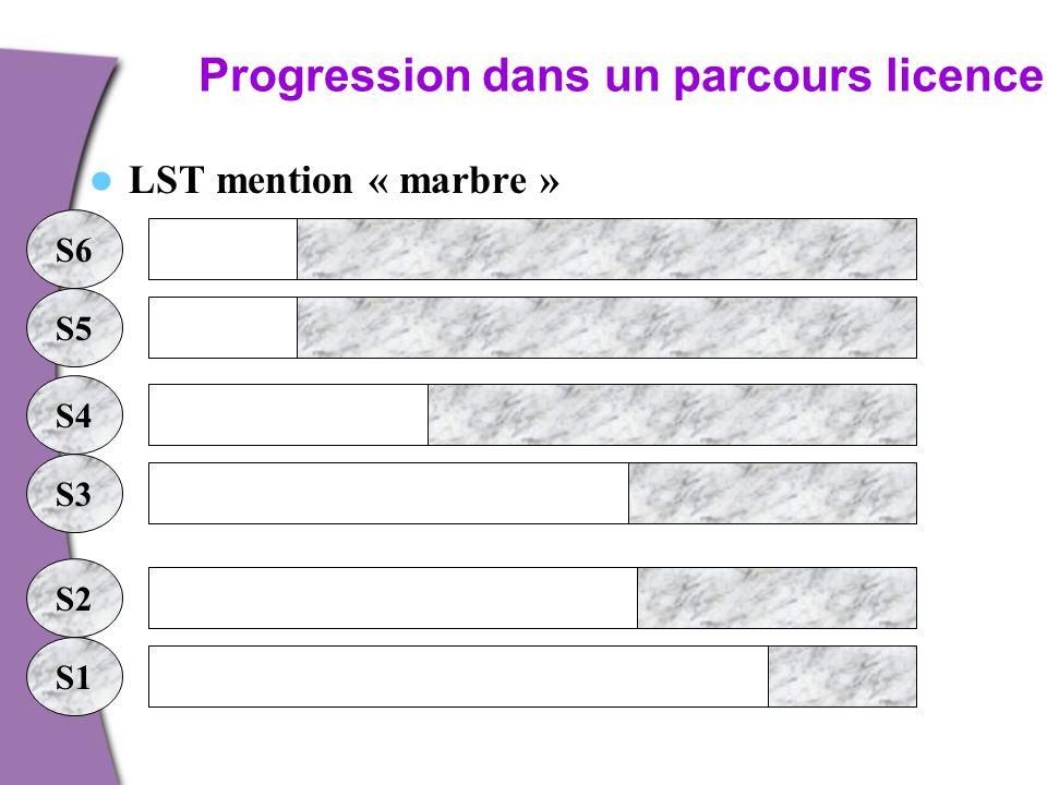 Progression dans un parcours licence. LST mention « marbre » S1 S2 S3 S4 S5 S6