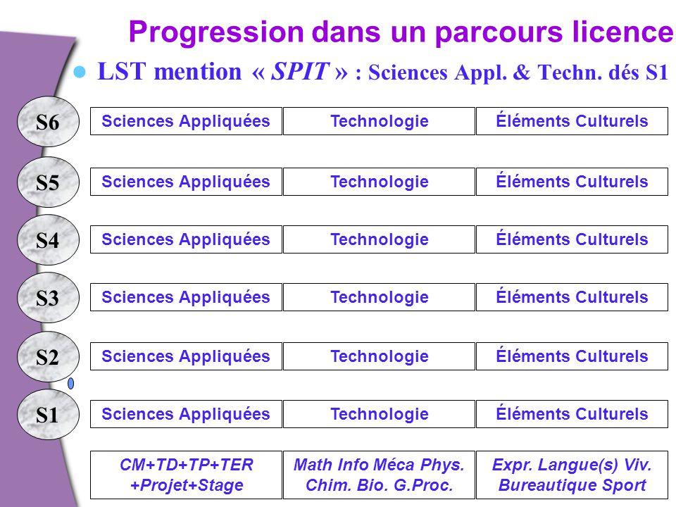 Progression dans un parcours licence. LST mention « SPIT » : Sciences Appl. & Techn. dés S1 S1 S2 S3 S4 S5 S6 Sciences AppliquéesTechnologieÉléments C