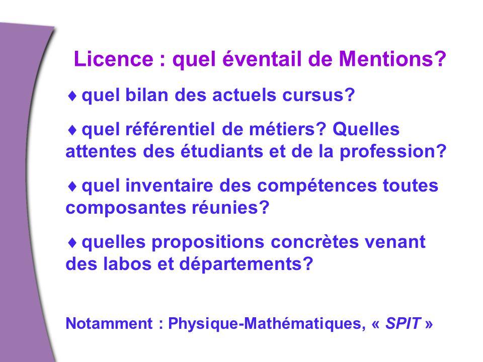 Licence : quel éventail de Mentions?  quel bilan des actuels cursus?  quel référentiel de métiers? Quelles attentes des étudiants et de la professio