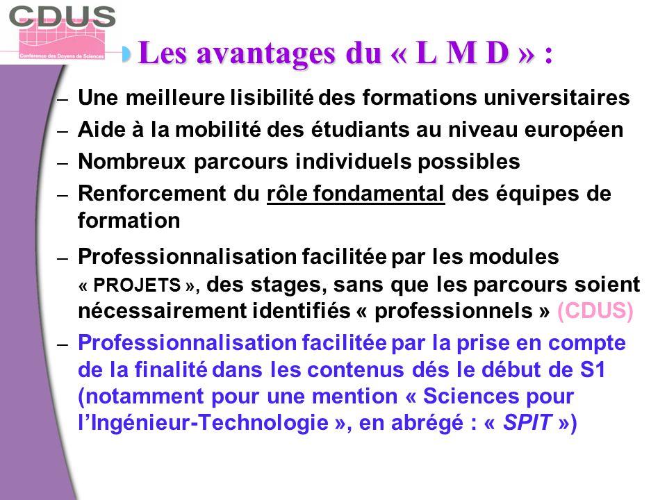 Les avantages du « L M D » Les avantages du « L M D » : – Une meilleure lisibilité des formations universitaires – Aide à la mobilité des étudiants au