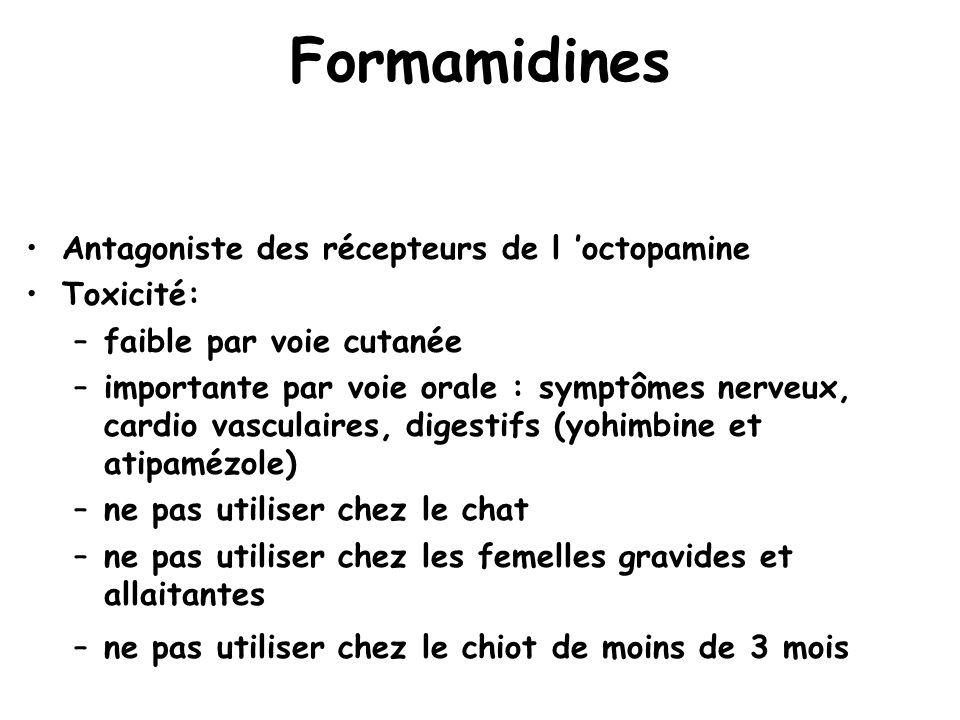 Formamidines Antagoniste des récepteurs de l 'octopamine Toxicité: –faible par voie cutanée –importante par voie orale : symptômes nerveux, cardio vas