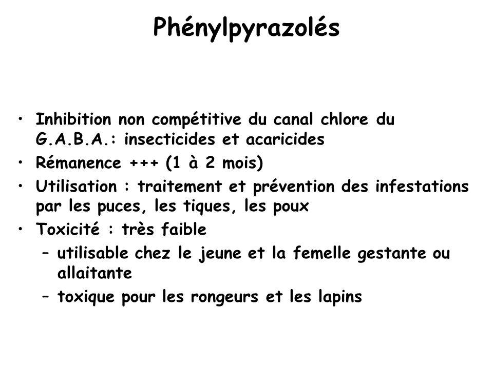 Phénylpyrazolés Inhibition non compétitive du canal chlore du G.A.B.A.: insecticides et acaricides Rémanence +++ (1 à 2 mois) Utilisation : traitement