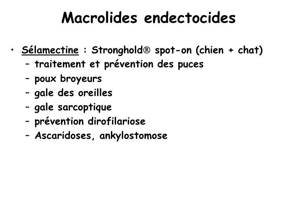 Macrolides endectocides Sélamectine : Stronghold  spot-on (chien + chat) –traitement et prévention des puces –poux broyeurs –gale des oreilles –gale