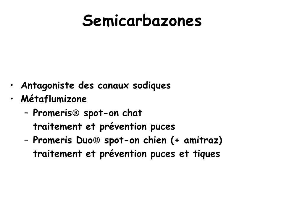 Semicarbazones Antagoniste des canaux sodiques Métaflumizone –Promeris  spot-on chat traitement et prévention puces –Promeris Duo  spot-on chien (+