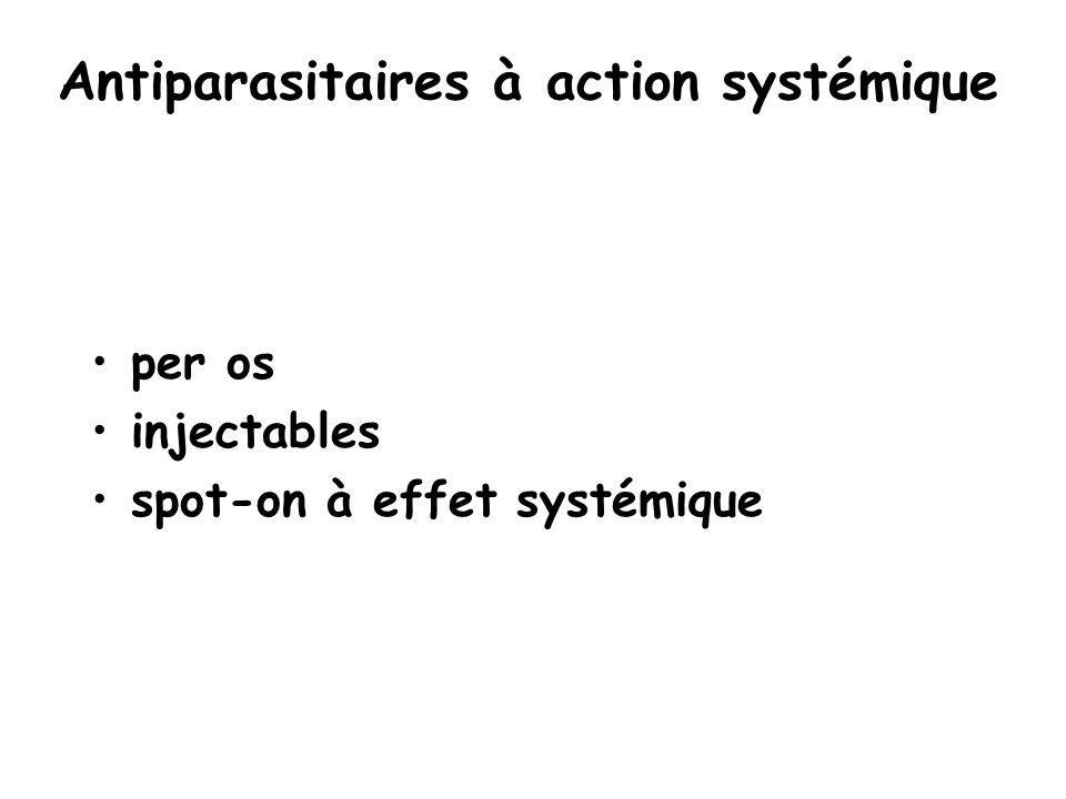 Antiparasitaires à action systémique per os injectables spot-on à effet systémique
