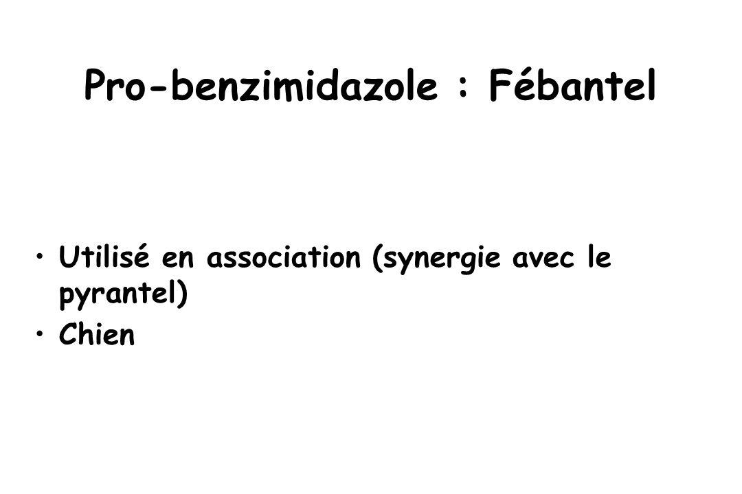 Pro-benzimidazole : Fébantel Utilisé en association (synergie avec le pyrantel) Chien
