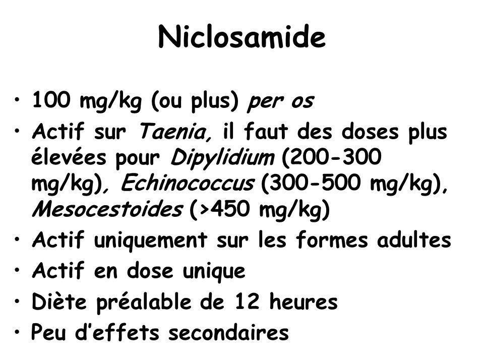 Niclosamide 100 mg/kg (ou plus) per os Actif sur Taenia, il faut des doses plus élevées pour Dipylidium (200-300 mg/kg), Echinococcus (300-500 mg/kg),