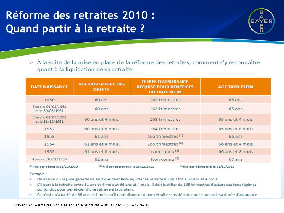 Name der Präsentation Page 10 Bayer SAS – Affaires Sociales et Santé au travail – 18 janvier 2011 – Slide 10 Réforme des retraites 2010 : Quand partir
