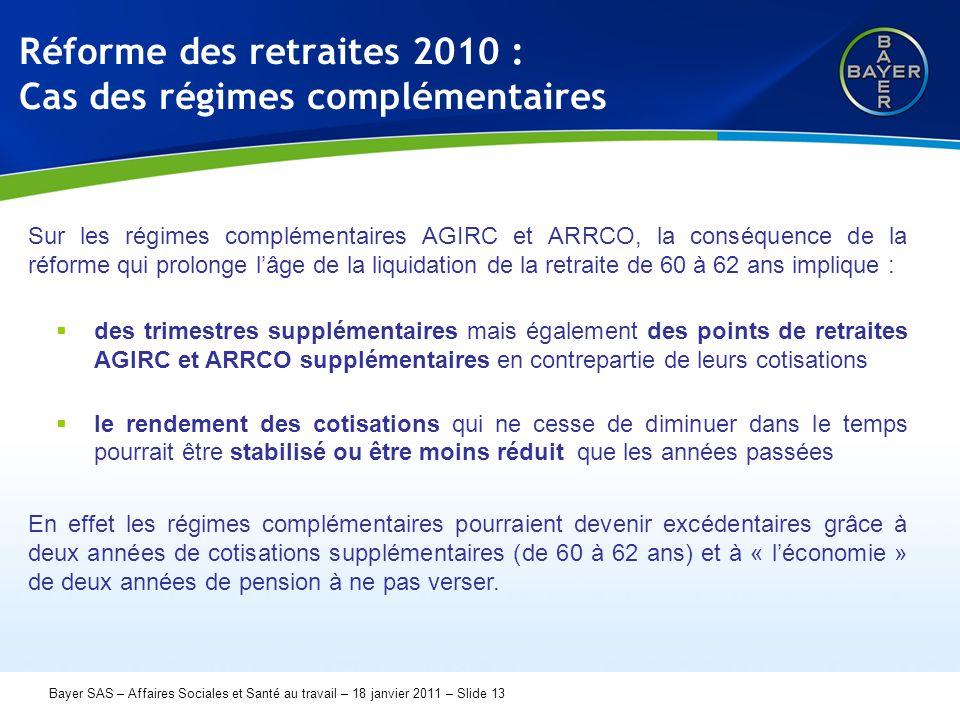 Name der Präsentation Page 13 Bayer SAS – Affaires Sociales et Santé au travail – 18 janvier 2011 – Slide 13 Réforme des retraites 2010 : Cas des régimes complémentaires Sur les régimes complémentaires AGIRC et ARRCO, la conséquence de la réforme qui prolonge l'âge de la liquidation de la retraite de 60 à 62 ans implique :  des trimestres supplémentaires mais également des points de retraites AGIRC et ARRCO supplémentaires en contrepartie de leurs cotisations  le rendement des cotisations qui ne cesse de diminuer dans le temps pourrait être stabilisé ou être moins réduit que les années passées En effet les régimes complémentaires pourraient devenir excédentaires grâce à deux années de cotisations supplémentaires (de 60 à 62 ans) et à « l'économie » de deux années de pension à ne pas verser.