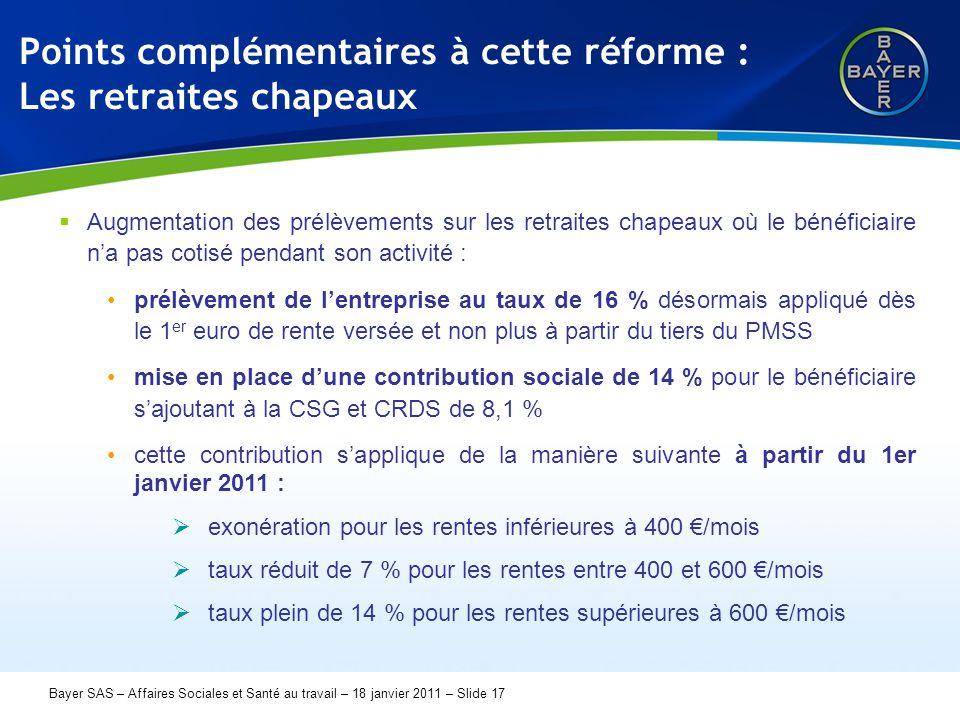 Name der Präsentation Page 17 Bayer SAS – Affaires Sociales et Santé au travail – 18 janvier 2011 – Slide 17 Points complémentaires à cette réforme :
