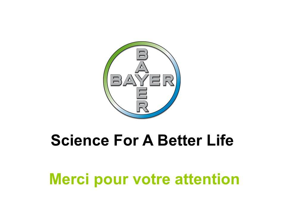 Name der Präsentation Page 19 Bayer SAS – Affaires Sociales et Santé au travail – 18 janvier 2011 – Slide 19 Science For A Better Life Merci pour votre attention