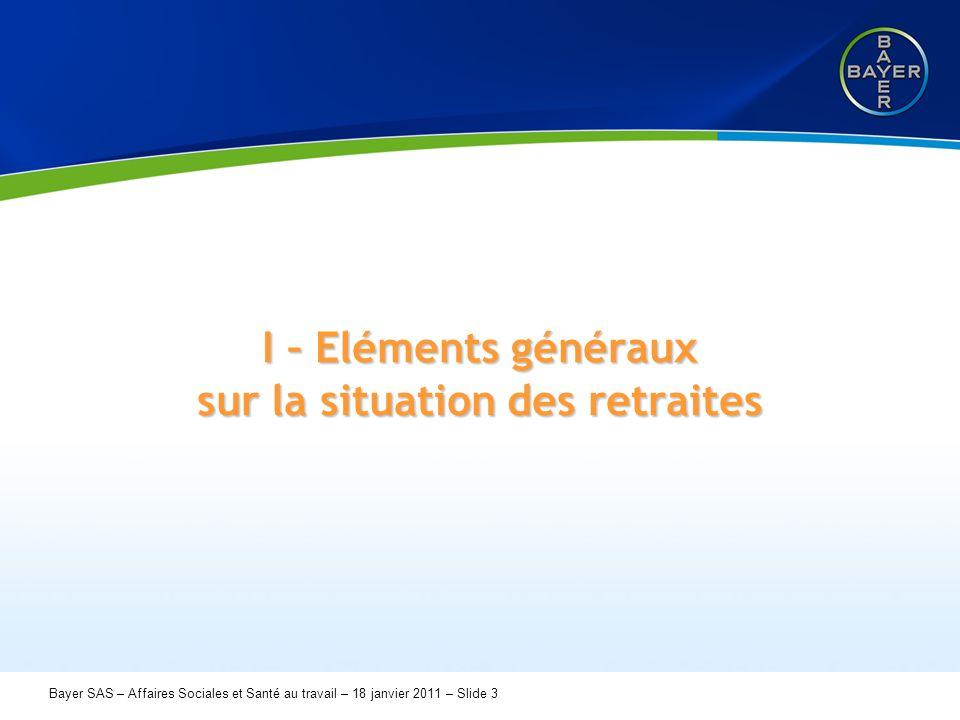 Name der Präsentation Page 3 Bayer SAS – Affaires Sociales et Santé au travail – 18 janvier 2011 – Slide 3 I – Eléments généraux sur la situation des retraites