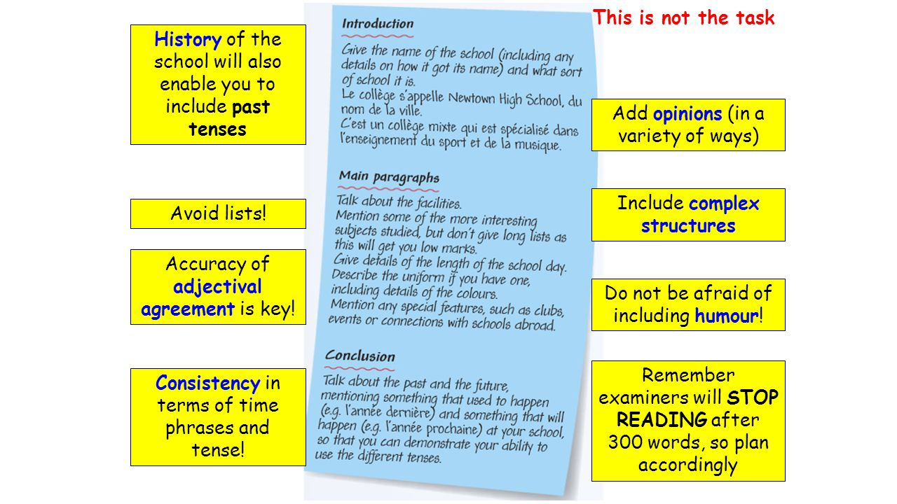 History of the school will also enable you to include past tenses Avoid lists! Accuracy of adjectival agreement is key! Consistency in terms of time p