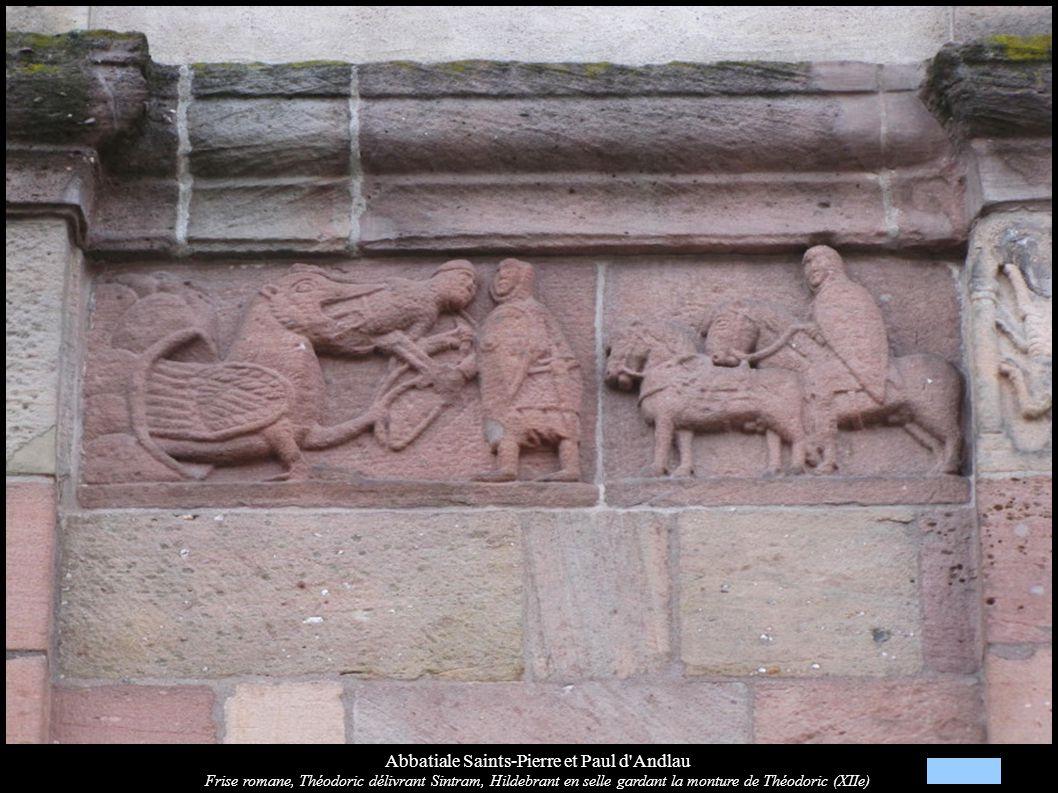 Abbatiale Saints-Pierre et Paul d'Andlau Frise romane, Théodoric délivrant Sintram, Hildebrant en selle gardant la monture de Théodoric (XIIe)