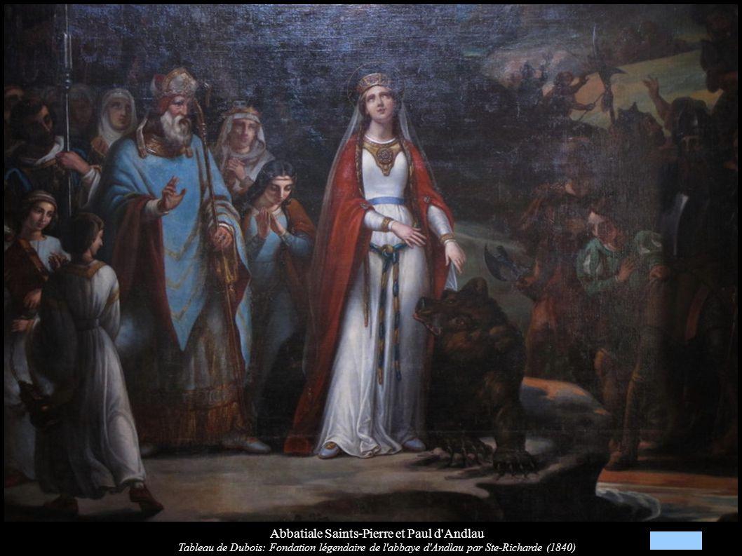 Abbatiale Saints-Pierre et Paul d'Andlau Tableau de Dubois: Fondation légendaire de l'abbaye d'Andlau par Ste-Richarde (1840)