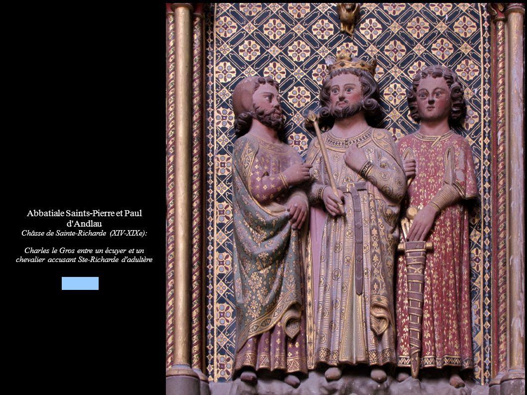 Abbatiale Saints-Pierre et Paul d'Andlau Châsse de Sainte-Richarde (XIV-XIXe): Charles le Gros entre un écuyer et un chevalier accusant Ste-Richarde d