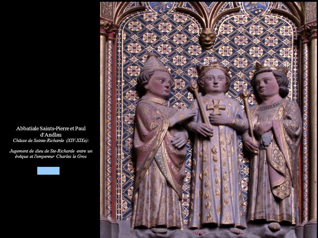 Abbatiale Saints-Pierre et Paul d'Andlau Châsse de Sainte-Richarde (XIV-XIXe): Jugement de dieu de Ste-Richarde entre un évêque et l'empereur Charles