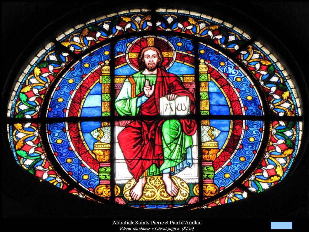 Abbatiale Saints-Pierre et Paul d'Andlau Vitrail du chœur « Christ juge » (XIXe)