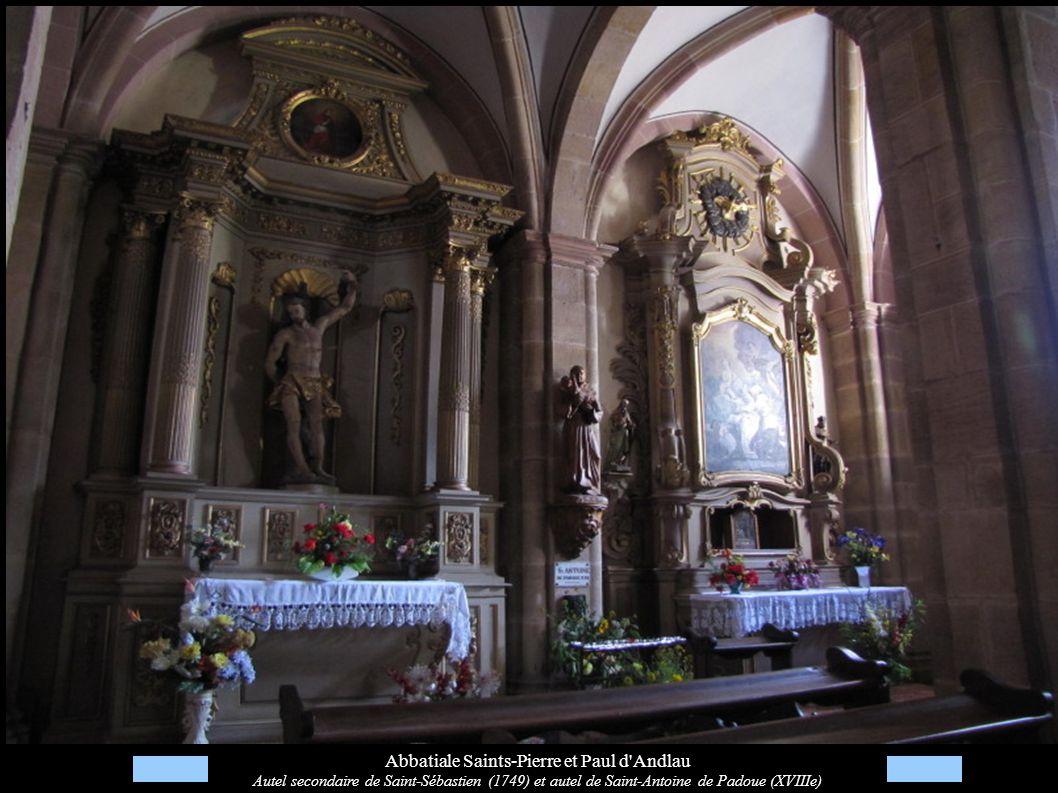 Abbatiale Saints-Pierre et Paul d'Andlau Autel secondaire de Saint-Sébastien (1749) et autel de Saint-Antoine de Padoue (XVIIIe)